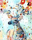 XINRANFF Malen Nach Zahlen Erwachsene, DIY Handgemalt Ölgemälde Hirsche Kits auf Leinwand Geschenk für Mädchen Mama Tochter Kinder Weihnachten Geburtstag Home Haus Deko, 40 * 50cm